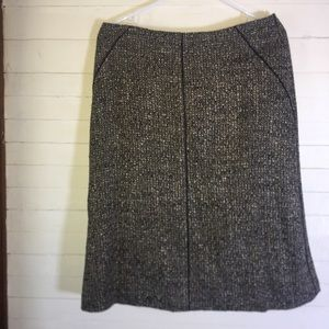 Talbots Tweed Wool Skirt Black Piping